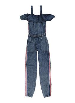 Girls 7-16 Striped Tape Denim Jumpsuit - 1619038340186