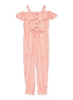 Girls 7-16 Striped Cold Shoulder Jumpsuit - 1619038340197