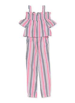 Girls 7-16 Smocked Trim Cold Shoulder Striped Jumpsuit - 1619038340198