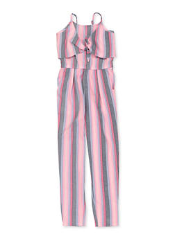 Girls 7-16 Tank Front Tie Striped Jumpsuit - 1619038340199
