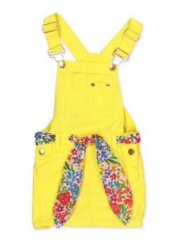 Girls 7-16 Tie Waist Twill Overall Dress - 1619038340212