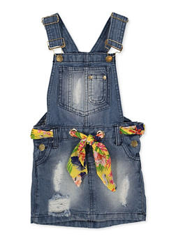 Girls 7-16 Threaded Belt Overall Dress - 1619038340217