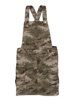 Girls 7-16 Twill Cargo Overall Dress - 1619038340218