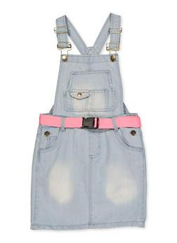 Girls 7-16 Belted Denim Overall Dress - 1619038340219