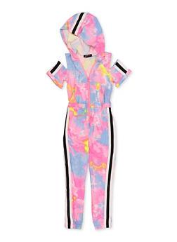 Girls 7-16 Tie Dye Hooded Zip Jumpsuit - 1619038340225