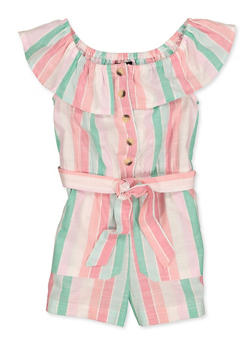 Girls 7-16 Ruffled Off the Shoulder Striped Romper - 1619038340227