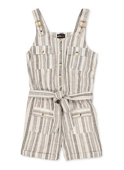 Girls 7-16 Striped Button Front Romper - 1619038340229