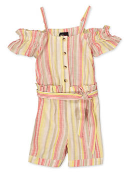 Girls 7-16 Striped Cold Shoulder Linen Romper - 1619038340230