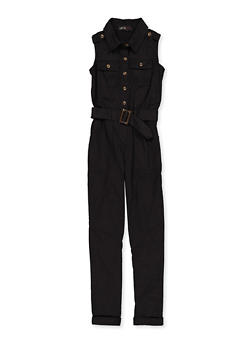 Girls 7-16 Belted Twill Jumpsuit - 1619038340240