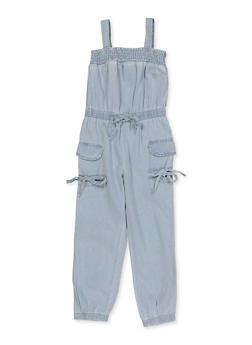 Girls 7-16 Denim Cargo Jumpsuit - 1619038340244