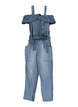 Girls 7-16 Off the Shoulder Denim Jumpsuit - 1619038340245
