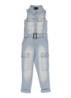 Girls 7-16 Collared Denim Jumpsuit - 1619038340247