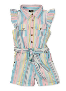 Girls 7-16 Striped Cap Sleeve Belted Romper - 1619038340250