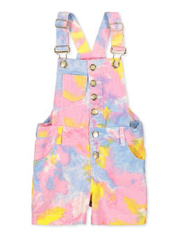 Girls 7-16 Tie Dye Button Front Shortalls - 1619038340259