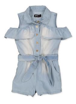 Girls 7-16 Cold Shoulder Ruffled Denim Romper - 1619038340277