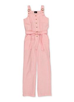 Girls 4-16 Striped Linen Tie Waist Jumpsuit - 1619038340302