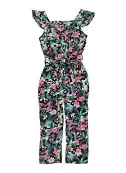 Girls Floral Tie Waist Jumpsuit - 1619038340357
