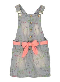 Girls Paint Splattered Denim Overall Dress - 1619038340372