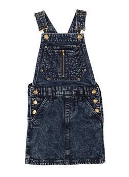 Girls Denim Overall Dress - 1619038340376