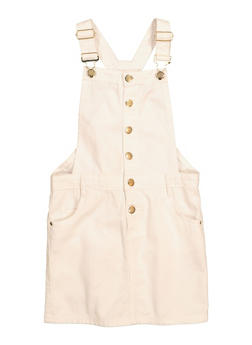 Girls Solid Button Front Overall Dress - 1619038340383