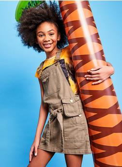 Girls Tie Waist Belt Bag Overall Dress - 1619038340386