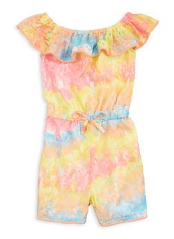 Girls Tie Dye Lace Romper - 1619038340430