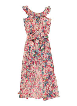 Girls Tropical Print Tie Waist Maxi Romper - 1619038340432
