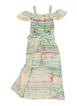 Girls Tie Dye Striped Maxi Romper - 1619038340434