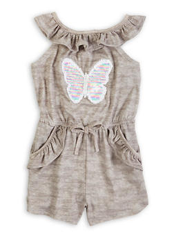 Girls Reversible Sequin Butterfly Romper - 1619038340446