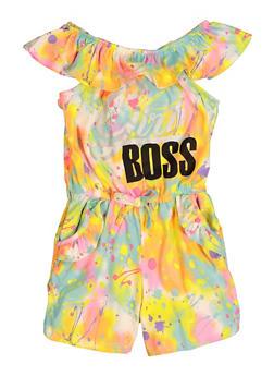 Girls Paint Splatter Girl Boss Romper - 1619038340447