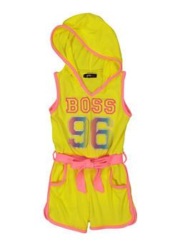 Girls Boss 96 Contrast Trim Hooded Romper - 1619038340449