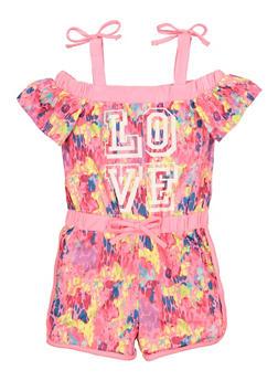 Girls Love Graphic Cold Shoulder Romper - 1619038340469