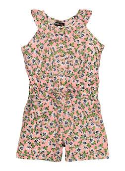 Girls Sleeveless Floral Romper - 1619038340487