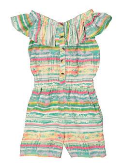 Girls Tie Dye Striped Romper - 1619038340489