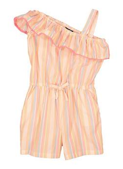 Girls Striped One Shoulder Romper - 1619038340493