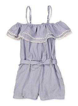 a97f2b03b3a Girls 5-16 Striped Crochet Trim Romper - 1619038341676
