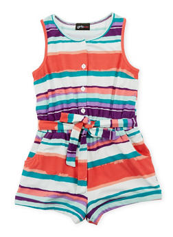 Girls 7-16 Printed Button Front Romper with Sash Belt - 1619051060098