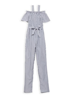 Girls 7-16 Striped Cold Shoulder Jumpsuit - 1619051060128