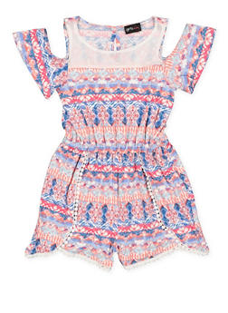 Girls 7-16 Printed Cold Shoulder Romper - 1619051060130