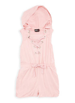 Girls 7-16 Soft Knit Hooded Lace Up Romper - 1619051060131