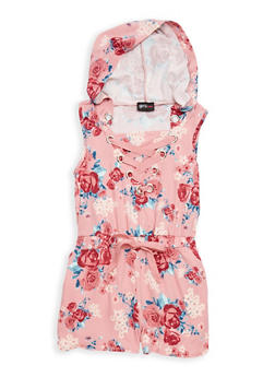 Girls 7-16 Floral Hooded Lace Up Romper - 1619051060132