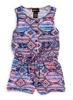Girls 7-16 Mixed Print Belted Romper - 1619051060135