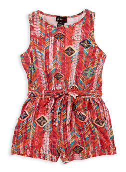 Girls 7-16 Soft Knit Printed Romper - 1619051060138