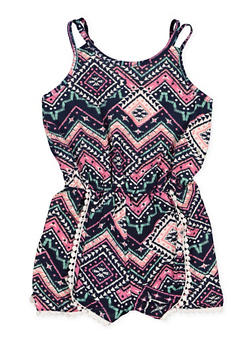 Girls 7-16 Crochet Trim Printed Romper - 1619051060139