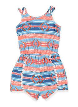 Girls 7-16 Crochet Trim Printed Romper - 1619051060139