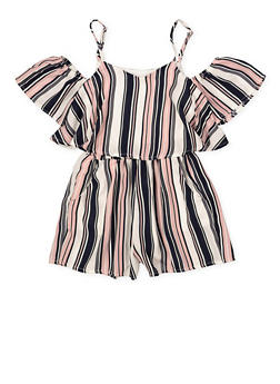 Girls 7-16 Ruffle Striped Off the Shoulder Romper - 1619051060145