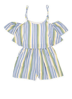 75d12de4ad9 Girls 7-16 Ruffle Striped Off the Shoulder Romper - 1619051060145