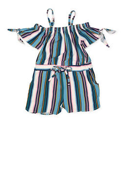 Girls 7-16 Striped Tie Sleeve  Off the Shoulder Romper - 1619051060147