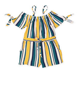 Girls 7-16 Striped Off the Shoulder Romper - 1619051060147