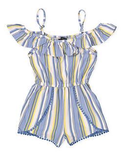 Girls 7-16 Crochet Trim Striped Romper - 1619051060148